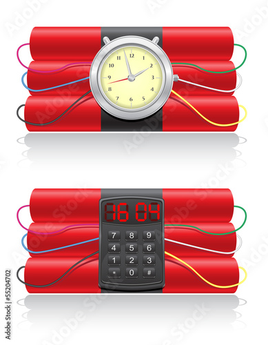 explosive dynamite and clockwork vector illustration