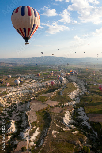 Hot air balloons rise over valley, Turkey