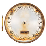 Vintage meter of a petrol pump with separate indicator on white