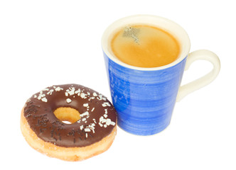 donut with  blue coffee mug
