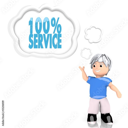 Illustration of a best service icon  thought by a 3d character
