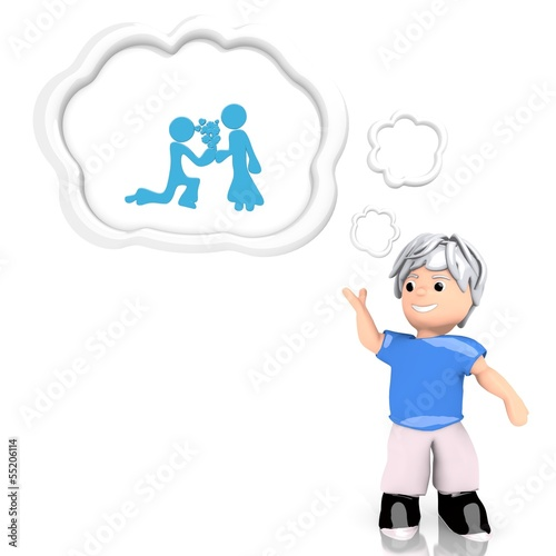 proposal of marriage icon  thought by a 3d character