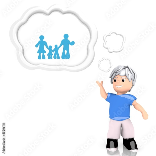 family sign  thought by a 3d character