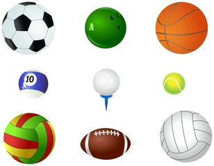 Set of different sporting balls