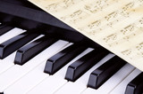 Piano keys closeup, music