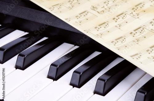 Fototapeta Piano keys closeup, music