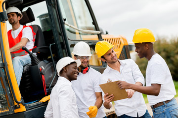 Group of engineers on a construction
