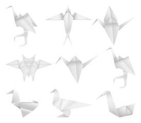 Origami birds set