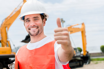 Contractor with thumbs up