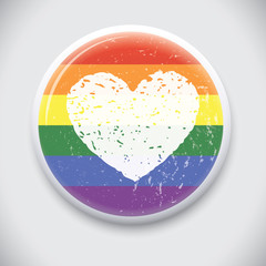 Heart symbol on Rainbow Flag - Vector Pin / Button Badge
