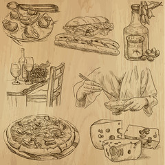 Food around the World (part 2). Collection of hand drawings.