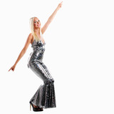 woman in disco glitter dance catsuit