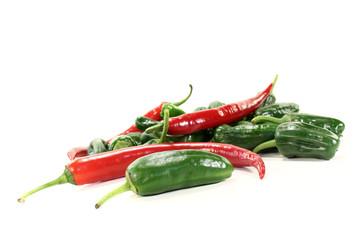 grüne Pimientos mit rote Pepperoni