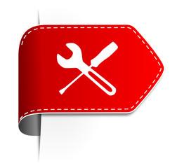 Schild Pfeil Werkzeug rot