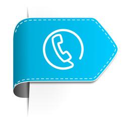 Schild Pfeil Telefon blau