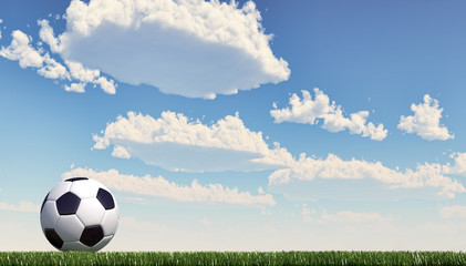 Soccer/football  ball close up on grass lawn. Panoramic format.