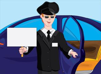 Мужчина встречает пассажиров с табличкой