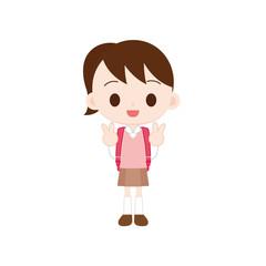 ランドセルを背負った小学生の女の子 ダブルピース