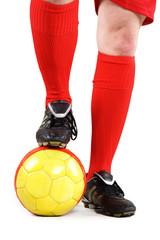 Fußballer mit roten Socken