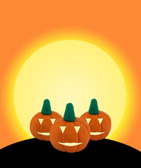 3 Halloween pumpkin on orange background with castle