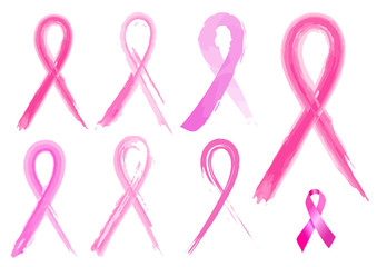 7 different breast cancer ribbons in brush strokes