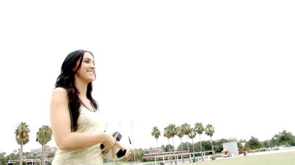 Happy woman with soccer ball slow motion