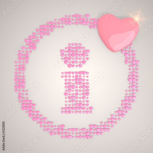 3d graphic of a soft information symbol made of many hearts