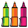 colored markers on white background
