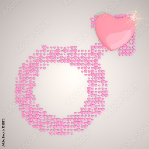 Illustration of a men man symbol made of many hearts