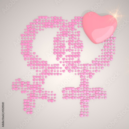 3d graphic of a tender homosexual symbol made of many hearts