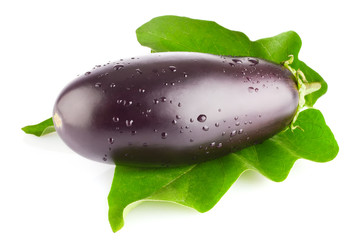 fresh eggplant  with green leaf isolated on white background