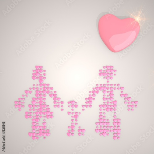 Illustration of a soft family symbol made of many hearts