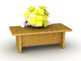 Overwhelmed Stressed 3D Man With Head on Desk and Sticky Notes