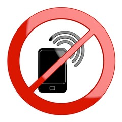 Illustration of a restricted smart phone sign not allowed