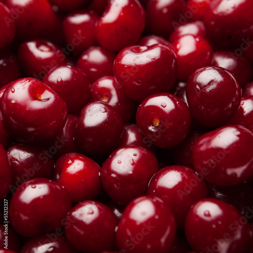 sour cherries, close-up view