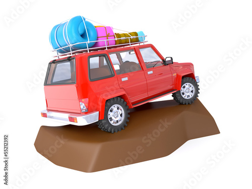SUV adventure with rock