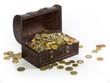 Euro-Münzen in einer Schatztruhe
