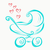 Sketch icon baby stroller with hearts
