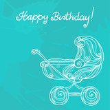 Happy birthday background with icon baby stroller