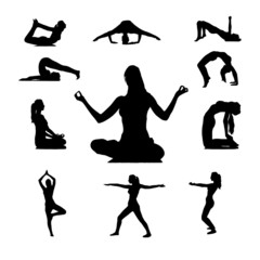 Silhouettes of Yoga positions. Vector.