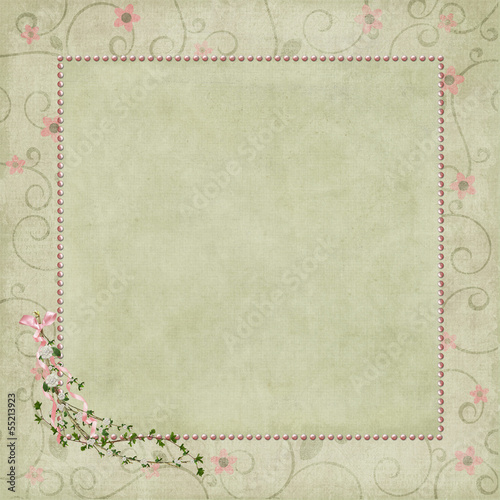 pink pearl frame on floral background
