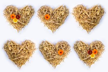 Herzen aus Stroh mit Blumen