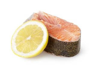 fresh trout steak with lemon