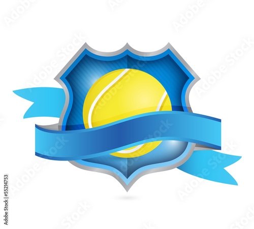 tennis shield seal illustration design