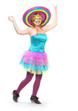 Pretty showgirl dressed in retro costume with sombrero..