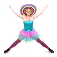 Pretty showgirl dressed in retro costume with sombrero.