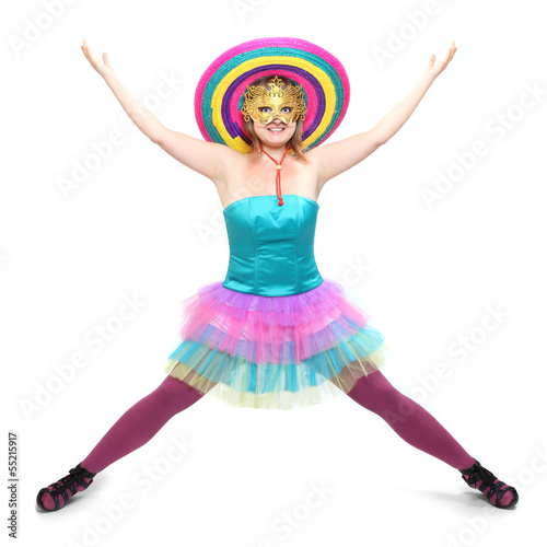 Pretty showgirl dressed in retro costume with sombrero.