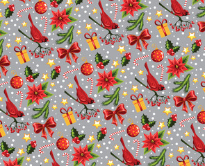 Seamless Christmas pattern on a grey background.