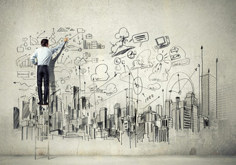 Businessman drawing sketch