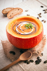 Delicious pumpkin soup for the cold fall weather
